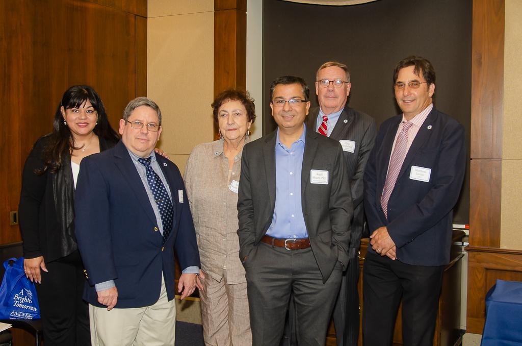 Left to right: Representatives from event co-sponsor American Macular Degeneration Foundation (AMDF) Neena Haider, PhD (Mass Eye & Ear/Harvard), Paul Gariepy, Sydney Ruth Torrey, Dr. Bharti, Chip Goehring, and Matthew Levine