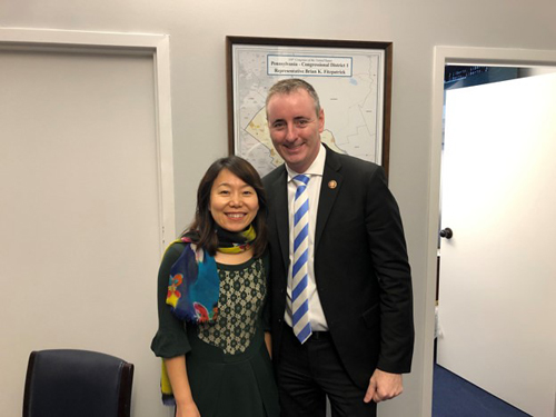 Cong. Brian Fitzpatrick (R-PA), right,  with Jingyun Wang, PhD (Salus University of Pennsylvania)