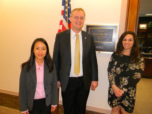 Peter Koulen, PhD (University of Missouri, Kansas City) and Ruanne Vent-Schmidt, PhD (Canadian National Institute for the Blind Foundation) with Christiana Reasor, office of Senator Jerry Moran (R-KS)