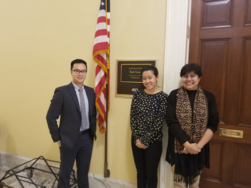 From left: Edmund Tsui, MD (UCLA), Aurora Paik, office of Cong. Ted Lieu (D-CA), and Zia Chaudhuri, PhD (Lady Hardinge Medical College, India)