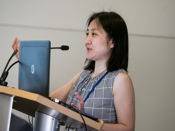 CDMRP Vision Program Manager Tian Wang, PhD (image from NAEVR's 2019 Defense Vision Research Opportunities session at the ARVO Annual Meeting)