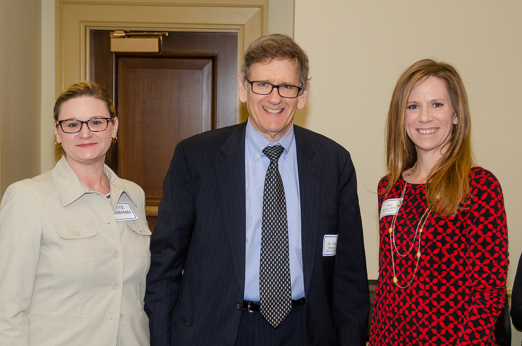 Kira Baldonado, left, and Sara Brown, right, both from Prevent Blindness, with Jeffrey Sherman, MD (Horizon Therapeutics)