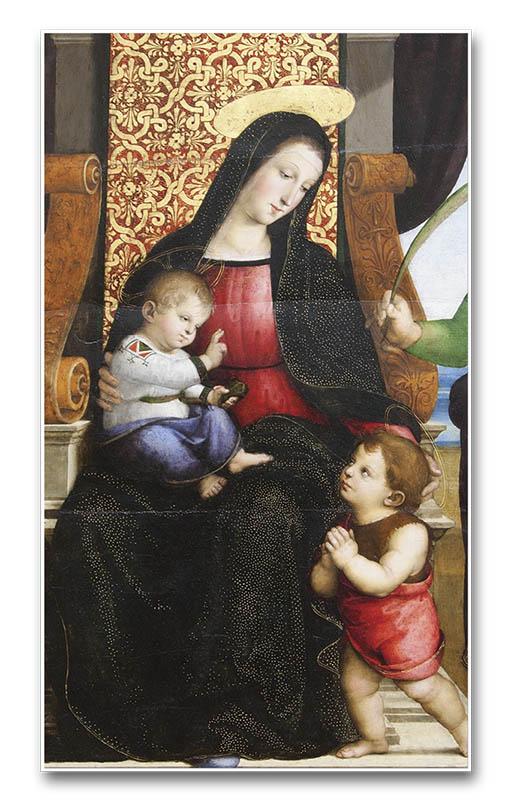 Nuestra Señora con el Niño Jesús y varios santos (detalle), por Rafael Sanzio - Museo Metropolitano de Nueva York