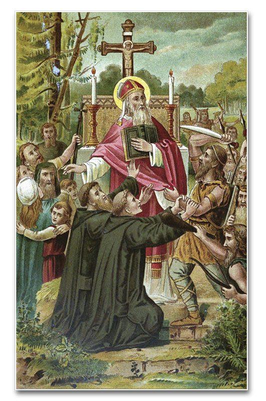 Martirio de San Bonifacio - Grabado extraído del libro «Neerlands heiligen in vroeger eeuwen», vol. III
