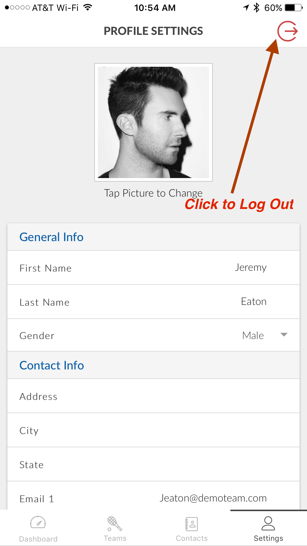 Logout Image on TennnisPoint Mobile App
