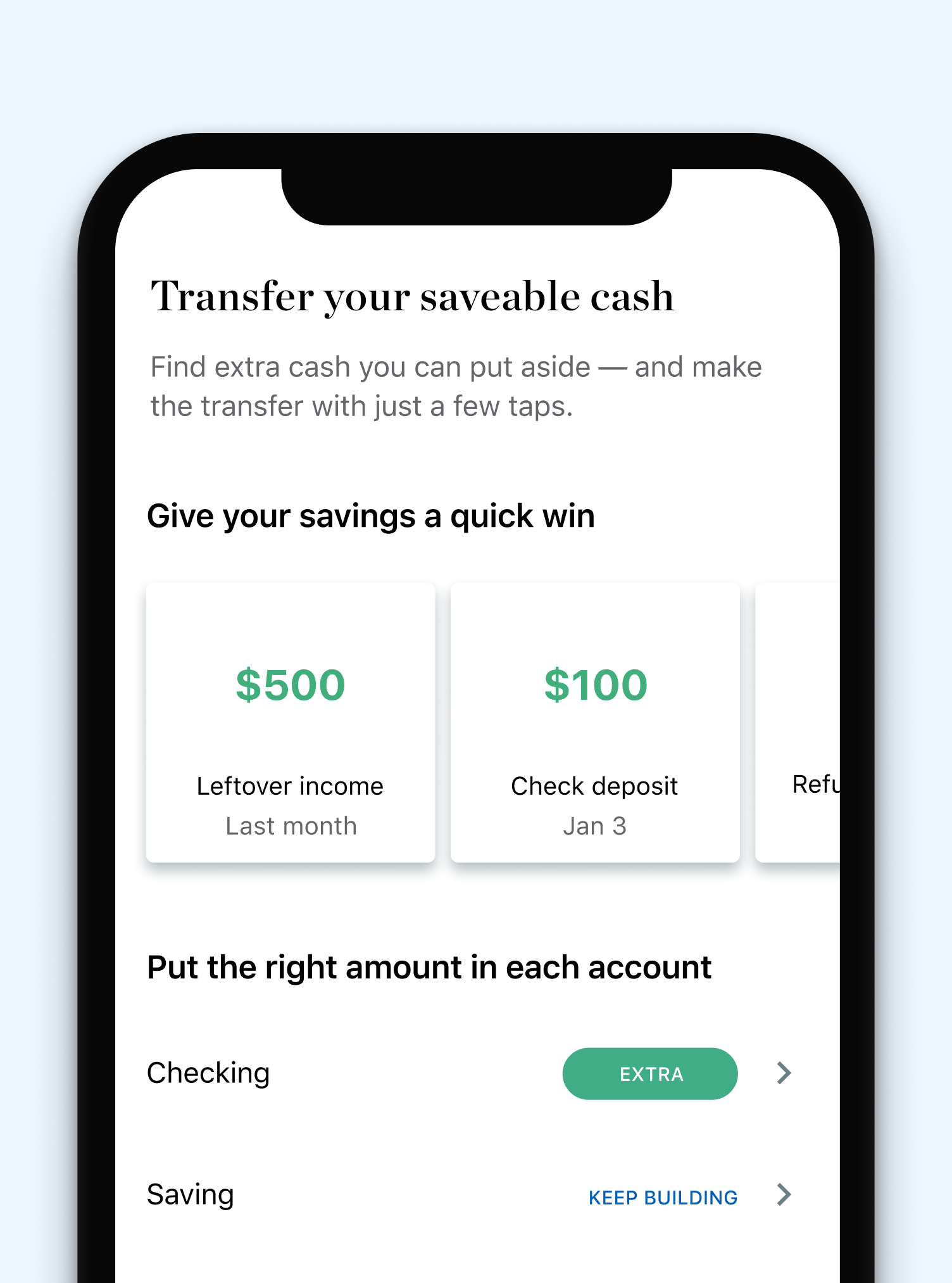 Transfer cash between accounts for free without leaving NerdWallet so you can stay on top of your money all in one place.