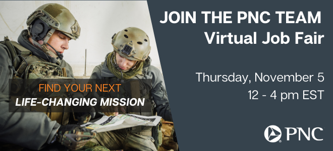 PNC Virtual Job Fair for Veterans Banner