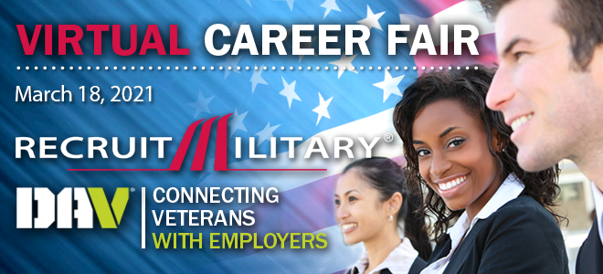 Washington DC / Baltimore Virtual Career Fair for Veterans Banner