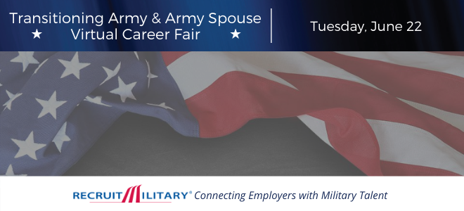 Transitioning Army & Army Spouse Virtual Career Fair Banner