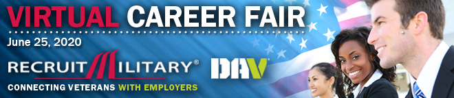 Washington DC/New York Areas Virtual Career Fair for Veterans Banner