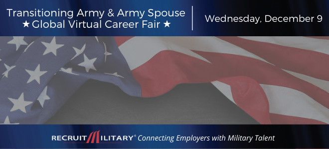 Transitioning Army & Army Spouse Global Virtual Career Fair Banner