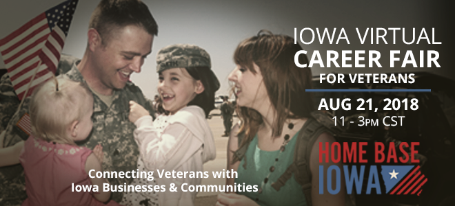 Home Base Iowa Virtual Career Fair for Veterans Banner