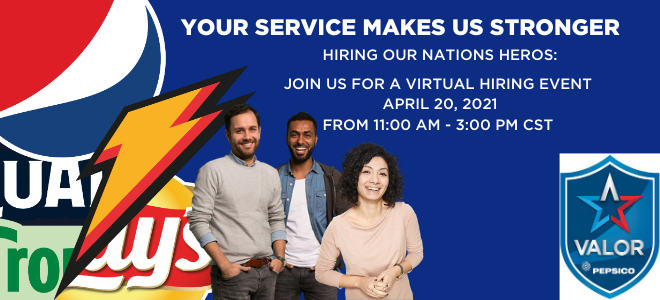 PepsiCo Virtual Career Fair for Veterans Banner