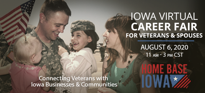 Home Base Iowa Virtual Career Fair for Veterans and Spouses Banner