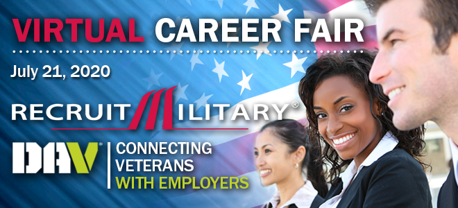 Joint Base Lewis McChord Area Military Virtual Career Fair for Veterans Banner