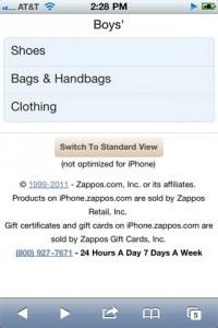 Zappos Mobile Marketing