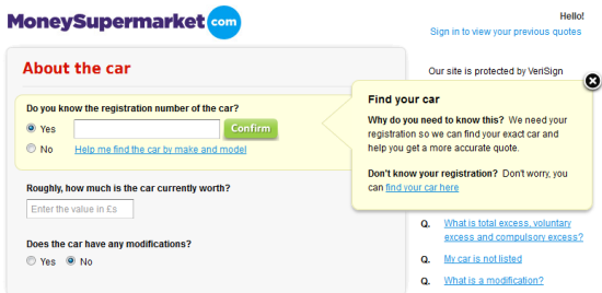 Money Supermarket Web Form