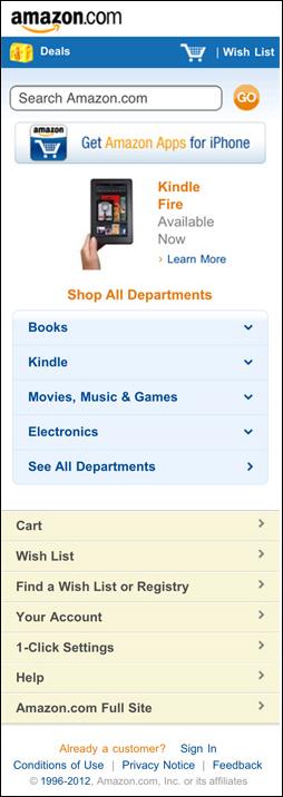 Amazon Mobile Website Design