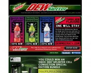 Mountain Dew Best Email Newsletter