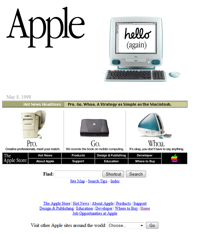 Apple Website from the 1990s