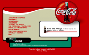 Coca Cola Website From The 1990s