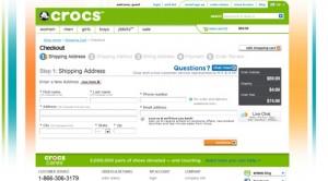 Crocs shoes checkout page