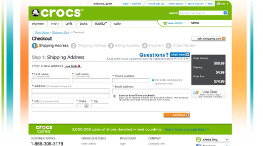 Crocs shoes checkout page