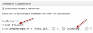 Contact Form WordPress plug in with email notification routing