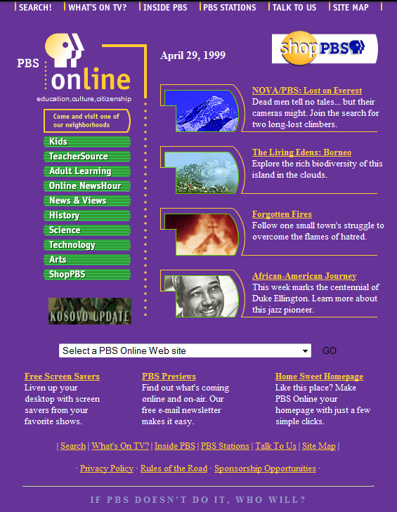 PBS Website From the 1990s
