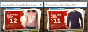 Personalized shopping ad