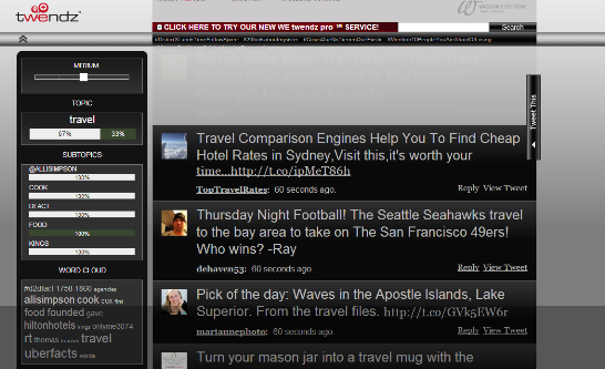 Twendz dashboard