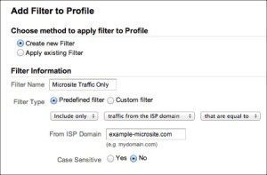 View Google Analytics traffic from microsite only