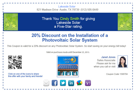 a sample 5 Star Review coupon