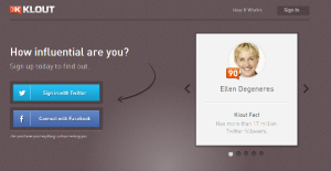 Klout home page