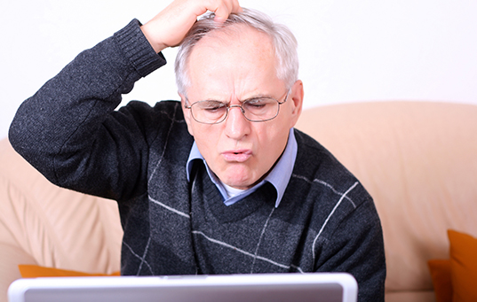 man trying to understand web copy
