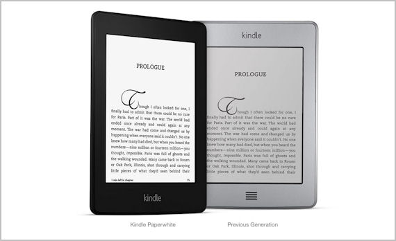 Picture showing old-generation Kindle and the Paperwhite