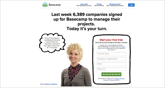 Basecamp needs very little content and only a few words to make a clear statement and position themselves as a likable and trustworthy company.