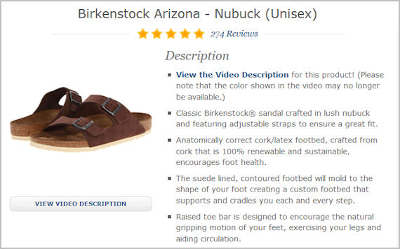 Zappos product description