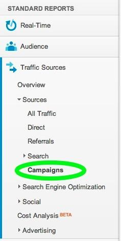 screenshot of Analytics campaigns