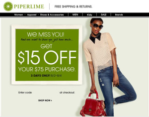 Reengagement Emails - Piperlime