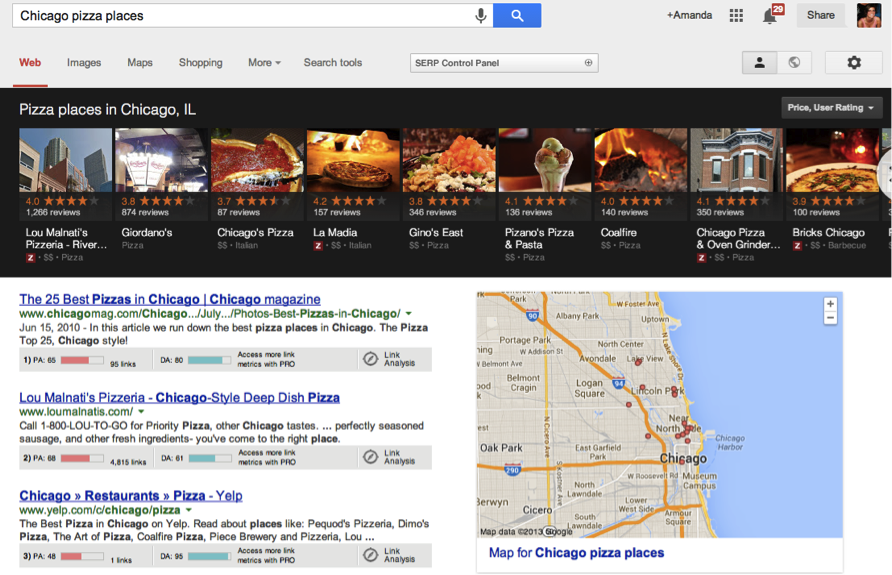 chicago pizza places google