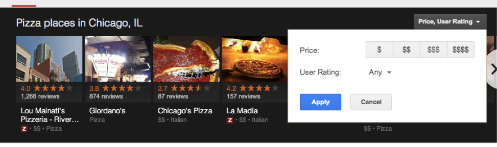 pizza places in Chicago google search price range