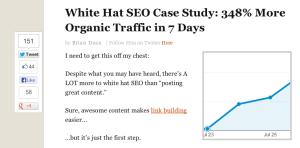 screenshot of blog post using social sharing buttons