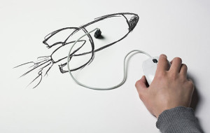 a computer mouse plugged into a drawing of a rocket