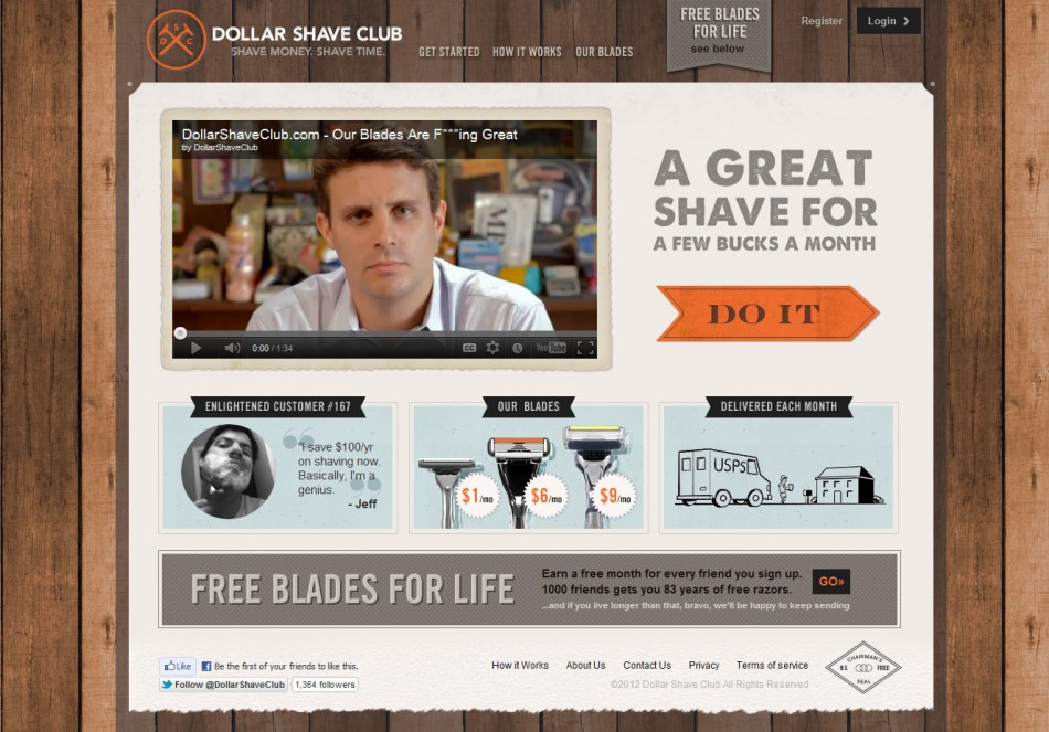 Dollar Shave Club Men Focused Landing Page