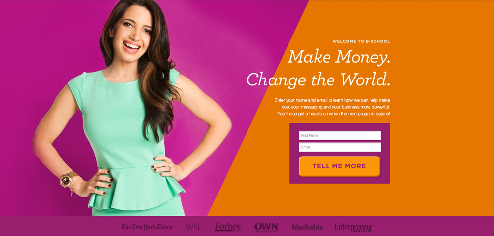 Marie Forleo Women focused Landing page