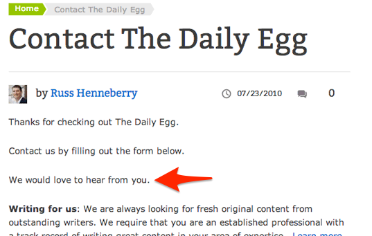 contact the daily egg
