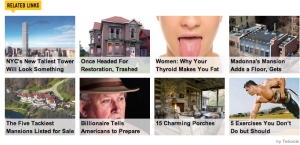 ads for articles on a new site