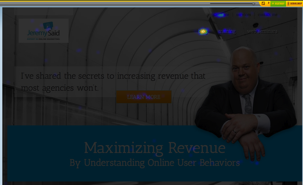 JeremySaid home page using CrazyEgg software