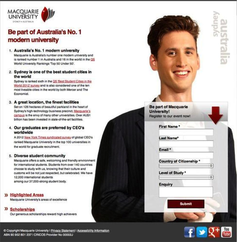 Macquarie University testing seasonality on their landing page